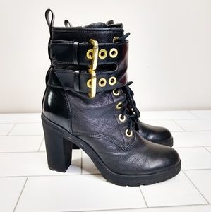 Guess  Double Strap Grunge Heeled Combat Boots